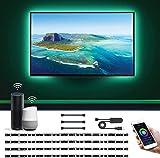 LE Striscia LED Intelligente Alexa Retroilluminazione TV 2M 5050 SMD, Strisce WiFi Smart Controllo Vocale e App, Cambio Colore e Modalità Luce, Compatibile con Alexa e Google Home (4 Strisce da 50cm)