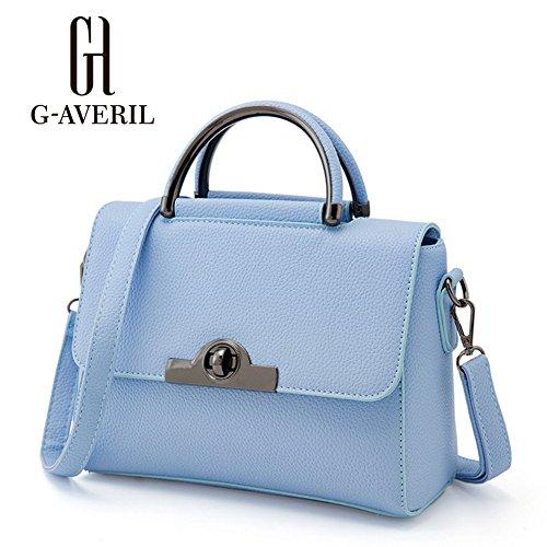 (G-AVERIL) Borsa A Spalla Donna Goffratura Geometria Borsa A Tracolla blu