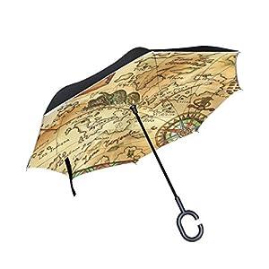 coosun Viejo Pirata Mapa con rosa de los vientos doble capa paraguas invertido Reverse paraguas para coche y uso al aire libre lluvia impermeable y a prueba de viento UV Protección grande recto paraguas con mango en forma