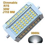 Generic R7s LED J118118mm Dimmbar Leuchtmittel 30W warmes Licht 3000K AC120V 3000LM Double Ended J LED Flutlicht für R7s 200W 300W 400W Halogen Ersatz 6000k Daylight
