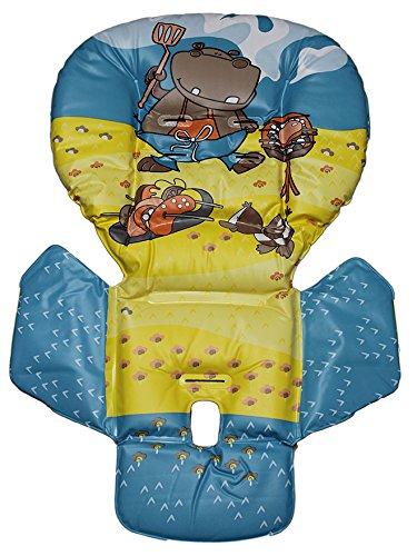 Housse de rechange déjà Housse pour chaise haute Prima Pappa Jaune/motif hippopotame Peg Perego