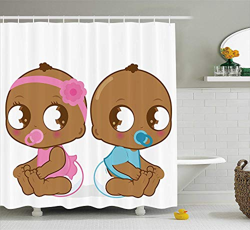 84-zoll-bar (JIEKEIO Gender Reveal Shower Curtain, Cute African American Baby Girl Boy in Diaper Kids Print, Fabric Bathroom Decor Set with Hooks, 60 * 72inch Extra Wide, Sky Blue Pink and Pale Brown)