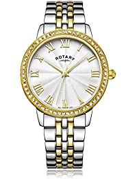 Rotary Women's Quartz Watch with Silver Dial Analogue Display and Two Tone Stainless Steel Bracelet LB00359/21