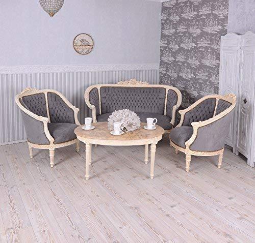 Sitzgruppe Barock Sitzgarnitur Salon Möbel Sofa Sessel Couchtisch Antik Palazzo Exclusiv -