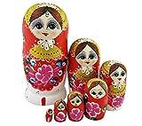 Set von 7 Pastoral Mädchen Rot Matryoschka Puppe Russischen Puppe Handgefertigt Babuschka Puppe Spielzeug fürs Kinderzimmer