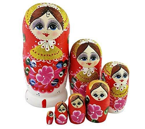 Winterworm Set de 7Cutie Lovely rojo dorado de madera Nesting Dolls Matryoshka ruso muñecas popular hecho a mano niños niña regalos juguete