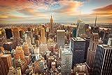 Fotomurale non Tessuto (TNT)-NEW YORK (55V) 350x260 cm-7 Strisce 50x260cm-Carta da Parati Fotomurali XXL Poster- Manhattan Brooklyn Bronx Città Skyline Campagna Panorama