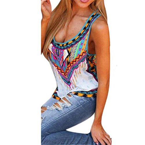 Bluestercool Women Summer Vest Sleeveless Shirt Blouse Casual Tank Tops (M)