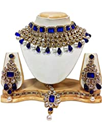 Shining Diva Latest Crystal Choker Traditional Necklace Jewellery Set with Maang Tikka Earrings for Women