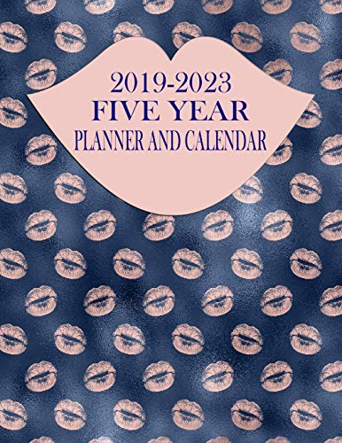 Planner And Calendar: Rose Gold Lips 60-Month Planner - Monthly Agenda And Organizer ()
