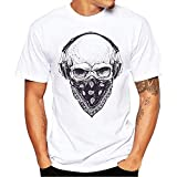 IZHH Herrenmode Shirt, Neuheit Skull Print Tees Weißes Hemd Kurzarm Atmungsaktive T-Shirt Outdoor Sport Bluse Basic Shirt(Weiß,XXXX-Large)