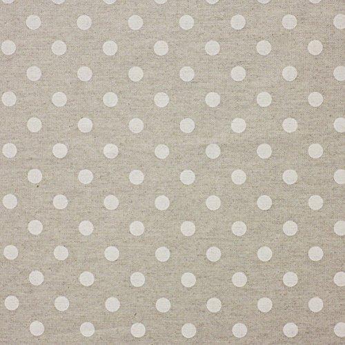 Mantel de tela resinado antimanchas–Efecto fondo yute–Lunares blancos 140x 220Pack de 2unidades)