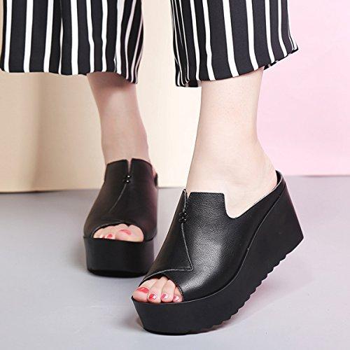 Damen Pantoffeln Plateau Peep-Toe Rutschhemmend Personalisiert Atmungsaktiv Einfach Modisch Weich Bequem Straße Cool Topaktuell Schuhe Schwarz