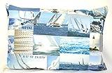 Konfektion Jürgen Schleiß Kissenhülle Zierkissenhülle maritim Motiv Karo Patchwork Seegelschiff blau/Dekokissen aus 100% Baumwolle/Couchkissen Made in Germany in verschiedenen Größen 40x40-60x60 (30x50)