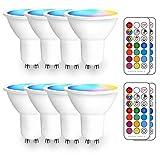 iLC Bombilla LED Foco GU10 Colores RGBW Bombillas spot Cambio de Color Regulable Blanco Cálido 2700k Casquillo - RGB 12 Colore - Control remoto Incluido - Equivalente de 20 Watt (Pack de 8)