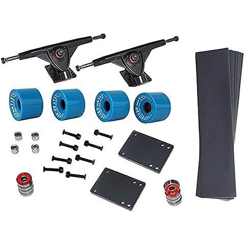Longboard Set 4ruote 76x 53in blu 8x cuscinetti a sfera ABEC-7viti accessori nuovo