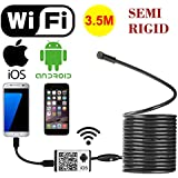 WiFi Wireless Digital Endoscope Borescope Snake Inspection Camera System For Iphone IOS Ipad Samsung Android Smartphone Cellphone With 6 Led Light, 9mm, 2 Megapixels, 720P HD, IP66 (Semi Rigid 3.5M)