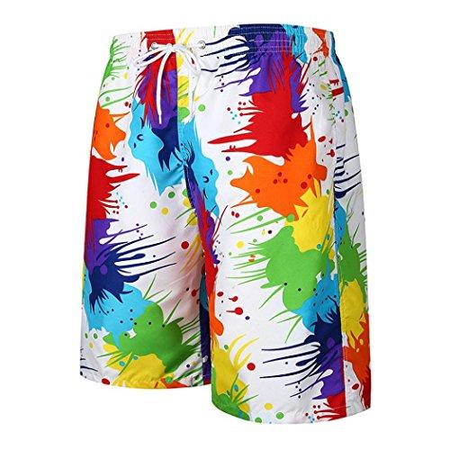 ASHOP Herren Sommer Leisure Schnell Trocknend Kordelzug Boardshorts in Vielen Farben (XL, Multicolor 1)