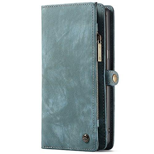 CaseMe Samsung Galaxy Note 8 Leder Case Hülle mit Kartenfächer Geldschmühelosmit Reißverschluss Magnet Handy Schutzhülle, Blau