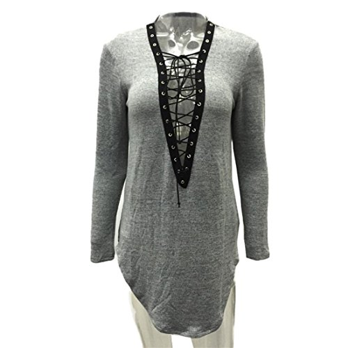 Malloom Frauen Damen Bandage Bluse Langarm Party Casual Kleider Grau