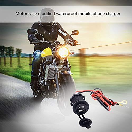 RoadRoma Doppia Presa USB per Adattatore per caricabatteria Moto Motocicletta Impermeabile 12V Nero e Rosso Accessori e parti per ventilatori