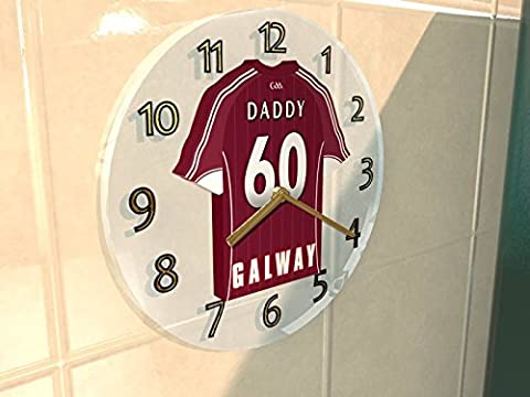 GAA GAELIC FOOTBALL & HURLING JERSEY WALL CLOCKS - ANY NAME, ANY NUMBER, ANY TEAM - FREE PERSONALISATION !! (COUNTY GALWAY GAA)