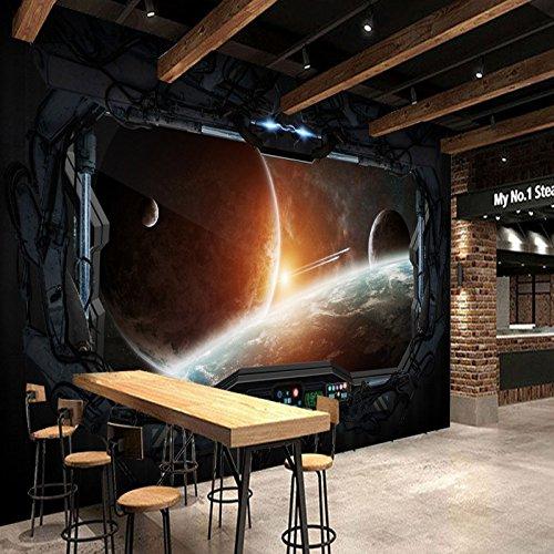 Yosot Foto Tapete 3D Stereo Bar Ktv Internet Cafes Tapete Spiele Zimmer Wandbild Kosmischen Raum Kabine Raumfahrzeug Mond Wandmalerei-400Cmx280Cm