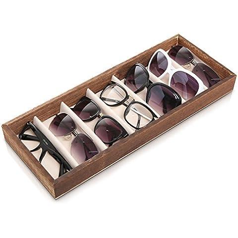 Gafas de sol Eyewear Almacenamiento Organizador Caja de compartimiento de madera marrón moderno y 7/Open Top Display Case