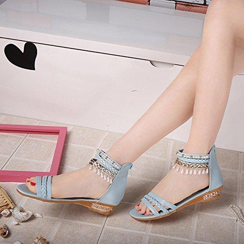 Hunpta Sommer elegante Plattform Schuh Frauen Perlen Keil Sandelholze beiläufige Schuhe Blau
