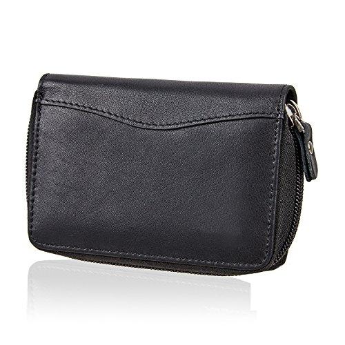 SWISSONA Premium Brieftasche aus hochwertigem Leder mit zusätzlichen Kartenfächern in schwarz | mit 2 Jahren Zufriedenheitsgarantie | Geldbeutel, Portemonnaie, Kreditkartenetui (Rabatt Geldbörse)