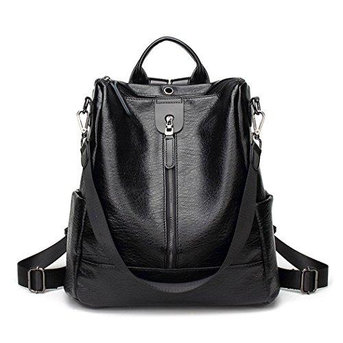Damen Rucksack Handtaschen Mode PU Leder Schultertasche Daypack Umhängetasche Reiserucksack Anti Diebstahl Tasche für Schule Reise Arbeit Schwarz V2 -
