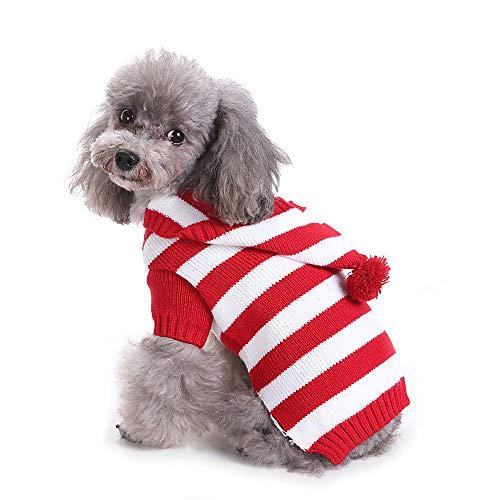 Yunison Hunde-Kürbis-Kostüm, Halloween-T-Shirt, Haustier-Kleidung, Welpen-Outfits, 2XL, Red White Stripe (Minion Für Hund Kostüm)