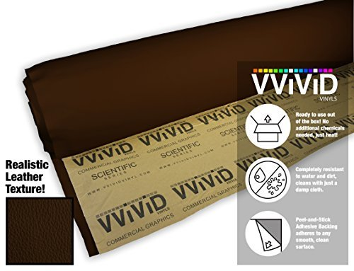 3' Vinyl (vvivid dunkelbraun selbstklebend wetterfest Kunstleder marine Vinyl 3ft x 54