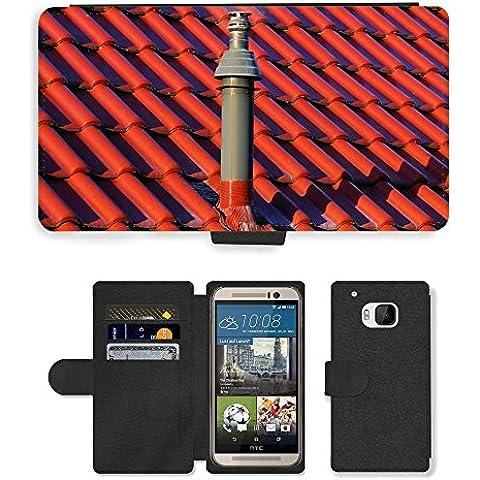 PU Billetera de Cuero Caso Titular de la tarjeta Carcasa Funda para // M00154517 Inizio del camino del tetto Gas // HTC One M9 - 1 M Camino