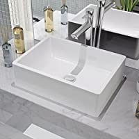 SENLUOWX Lavabo cerámica con Blanco 41x 30x 12cm