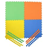#10: Archana NHR Colorful 4 (Interlocking) Square Kids Play Puzzle Style Mat 24