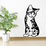 xingbuxin 3D Un Gatto Felino Animale Domestico Seduto Seduto Vinile Adesivi murali Arte Decorazione Cameretta per Bambini Cameretta Adesivi murali Decalcomanie rimovibili42x83cm