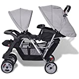 Vislone Geschwister Zwillings - Kinderwagen, für Babys und Kleinkinder, Babytragetasche und Regenschutzhaube, ab Geburt nutzbar