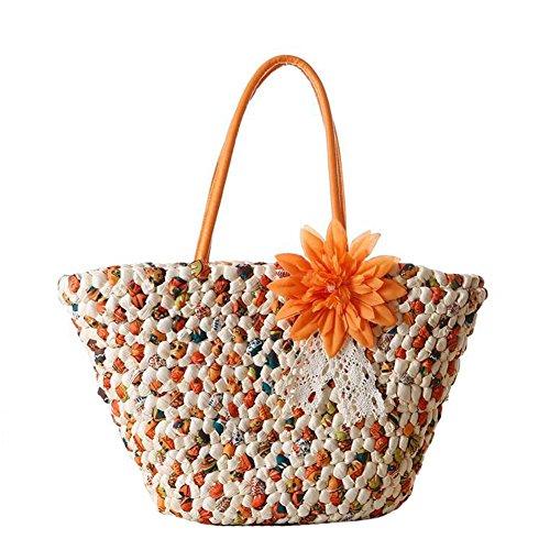 JOMNM Damen Blumen Stroh Gewebe Aus Handtasche Sommer Urlaub Sea Beach Tote Kreuz Boday Tasche/Einkaufstasche. (Orange) -
