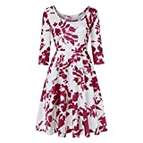 VEMOW Elegante Damen Frauen Herbst Sommer 3/4-Arm Cocktailkleider Printing Floral A-Linie Casual Täglichen Abend Party Dating Kleid Party Kleid(Rot, EU-40/CN-M)