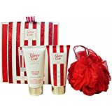 Grace Cole Frosted Cherry & Vanilla 3-Piece Body Treats Gift Set for Her: Body Lotion + Body Wash + Puff