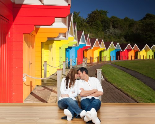 bilderdepot24-papier-peint-intiss-cabines-de-plage-colores-au-royaume-uni-420x270-cm-pte-inclus-vent