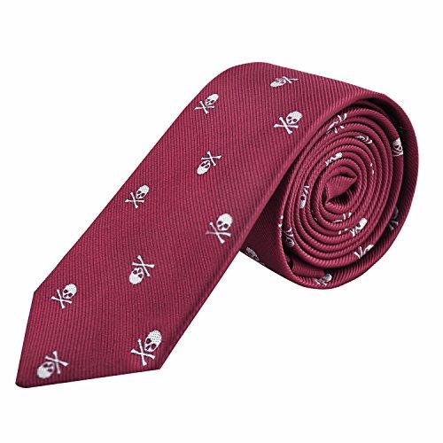 Enjoymore Cravate à motif de crâne pour homme Marron