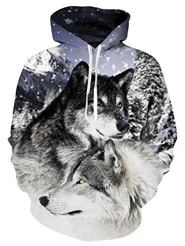 Junioren Für Kostüm - Fanient Junioren Langarm Wolf Sweatshirts Hoodies Casual Pullover Hoodie für Herren Frauen mit Taschen