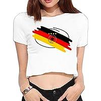 XJ-cool da donna Deutschland calcio logo nuovo midriff-baring maglietta bianco