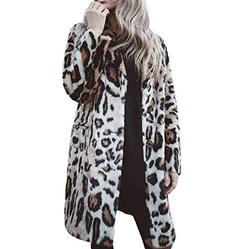 Oliviavan Damen Bluse mit Leopardenmuster Herbst Cardigan Langarm Leopard Print Button Mode Mantel Strickjacke mit Taschen Faux Fur Kunstfell Jacke