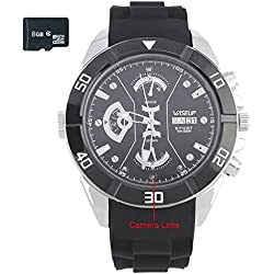 WISEUP 8GB 1280x720P HD Mini Spy Camera Watch Silicone Rubber Wristband Wearable DV Camcorder with Voice Recording and Photo Shooting Function