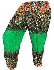 by soljo - Pantalon pantalons de loisirs sportifs pantalon fleurs verte