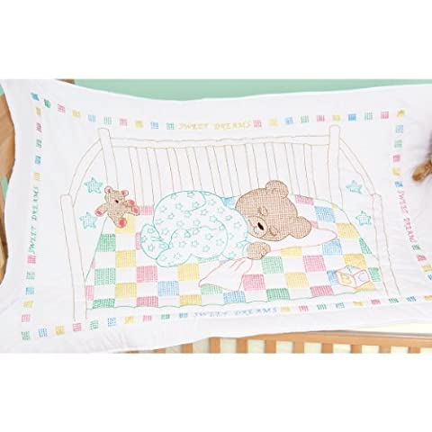 Jack Dempsey Stamped Quilt Crib Top, 40 x 60 inches , Snuggly Teddy, White,