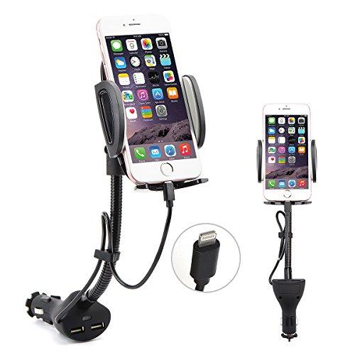 Auto Handy Halterung, 360°drehbar KFZ Halter für iPhone 8 7 6S Plus 5S 5C SE und andere iPhone Smartphone (Auto-ladegerät Ios 8)
